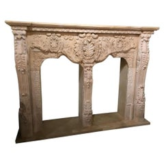 Monumental Cream Marble Mantel, Hand Carved
