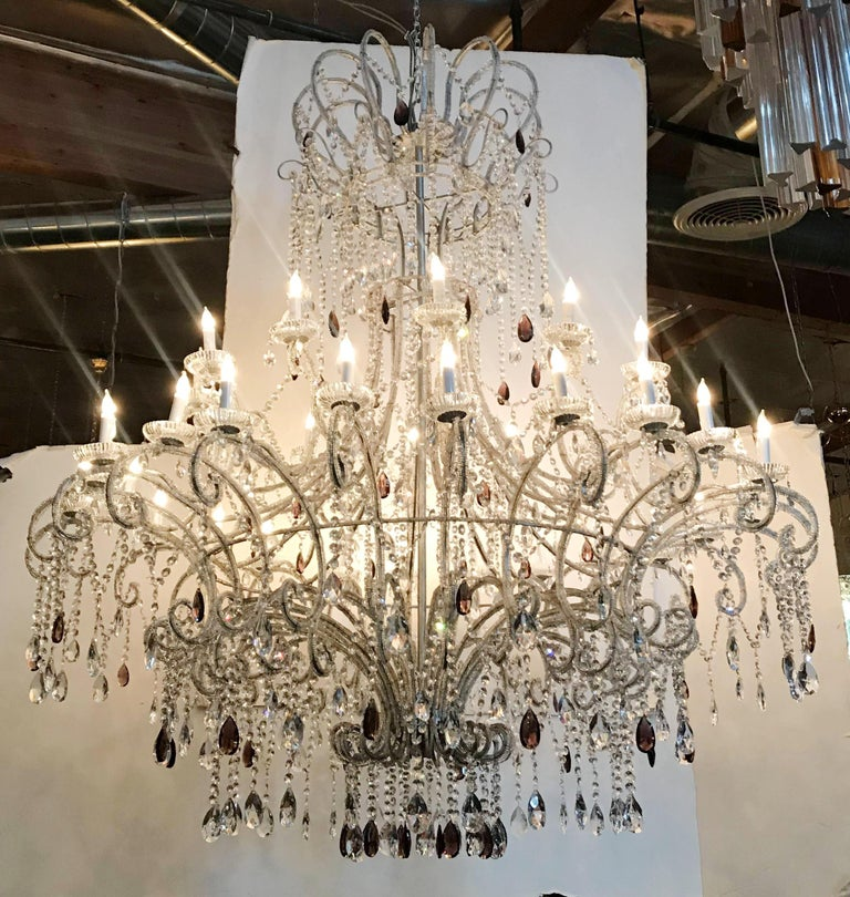 Faceted Monumental Crystal Chandelier For Sale
