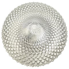 Monumental Crystal Pattern Clear Glass Flushmount Ceiling Light, 1960s