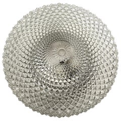 Monumental Crystal Pattern Clear Glass Flush mount Ceiling Light, 1960s