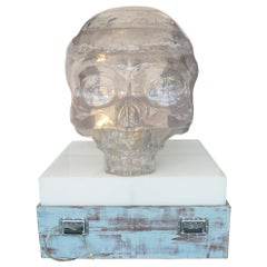 "Monumental ""Crystal Skull"" Made of Acrylic Resin, Mounted to the Base / Pedestal"