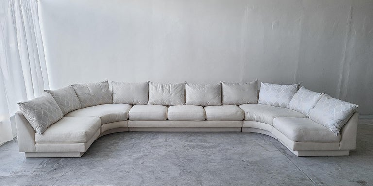 Great 5 piece modular sectional sofa by Milo Baughman for Directional, tagged. A massive sofa that will make a massive statement.  Sofa is being sold as found and offered at a deep discount, comparably, leaving room to customize