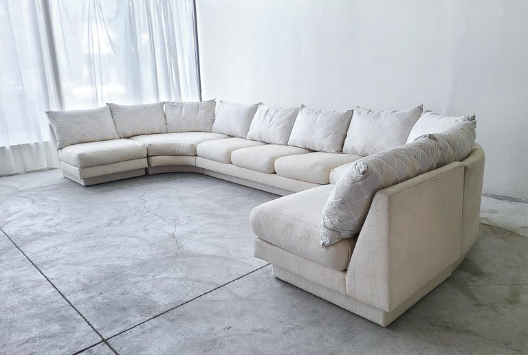 Mid-Century Modern Monumental Curved Modular Sectional Sofa by Directional For Sale