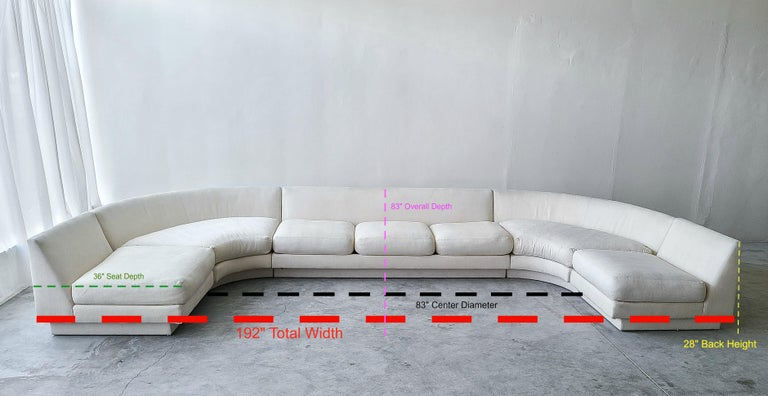 Fabric Monumental Curved Modular Sectional Sofa by Directional For Sale