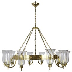 Monumental Custom 10-Light Brass Chandelier with Hurricane Shades