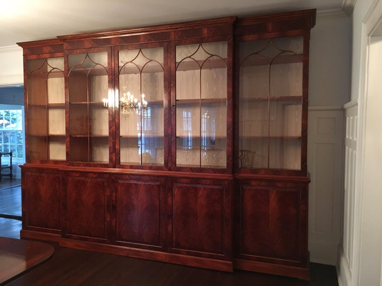Monumental Custom Made Mahogany Breakfront Bookcase by Mill House Antiques 10