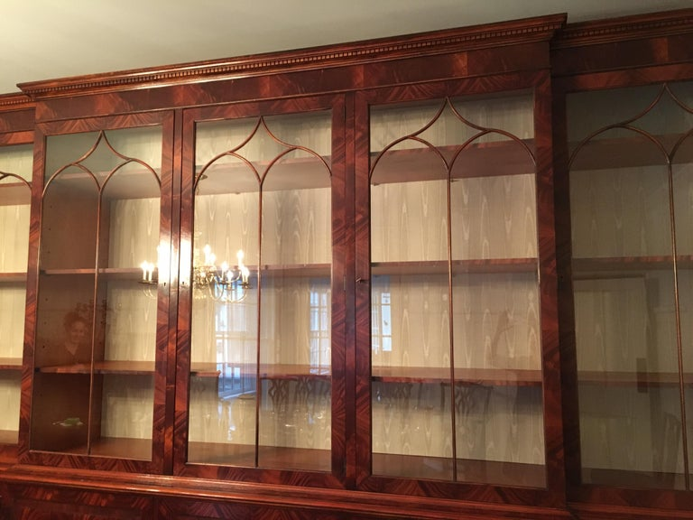Monumental Custom Made Mahogany Breakfront Bookcase by Mill House Antiques 11