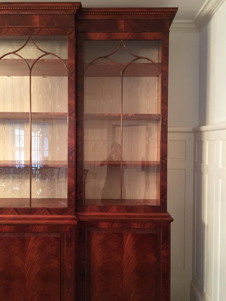 Monumental Custom Made Mahogany Breakfront Bookcase by Mill House Antiques 12