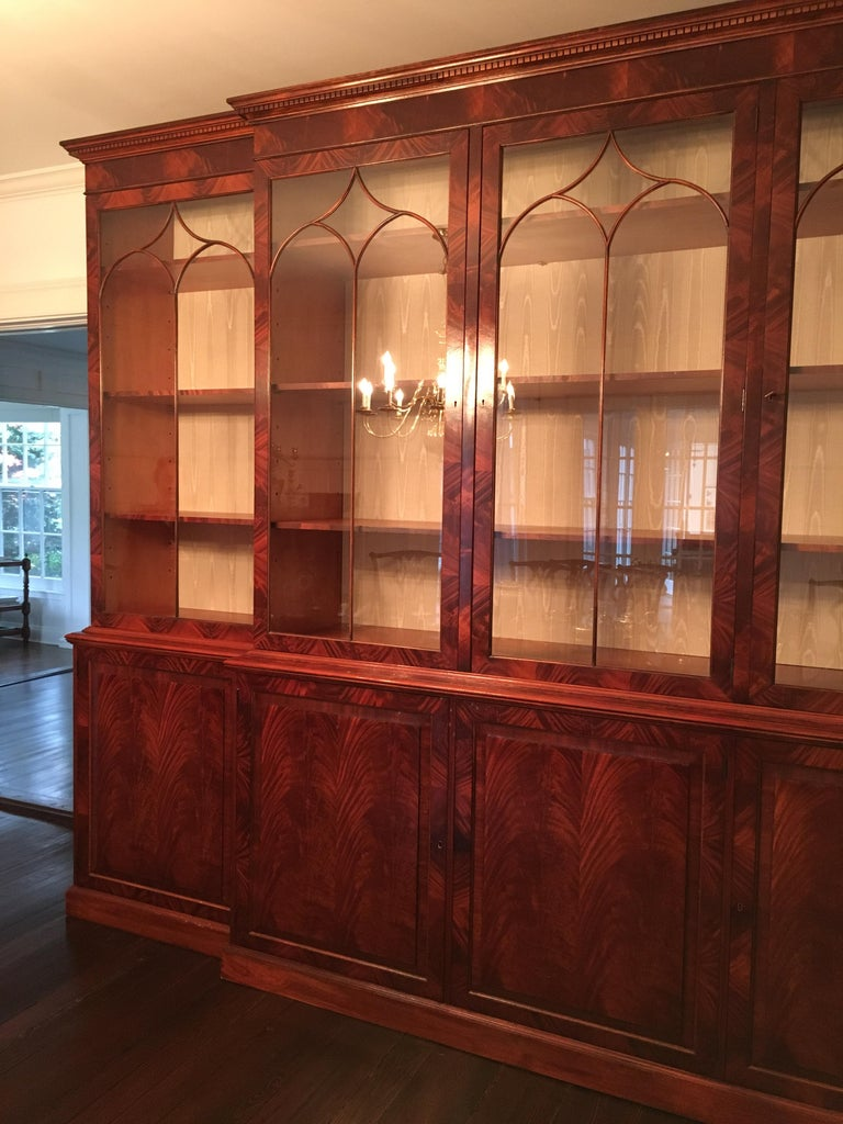 Monumental Custom Made Mahogany Breakfront Bookcase by Mill House Antiques 13