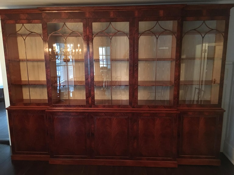 Monumental Custom Made Mahogany Breakfront Bookcase by Mill House Antiques 14