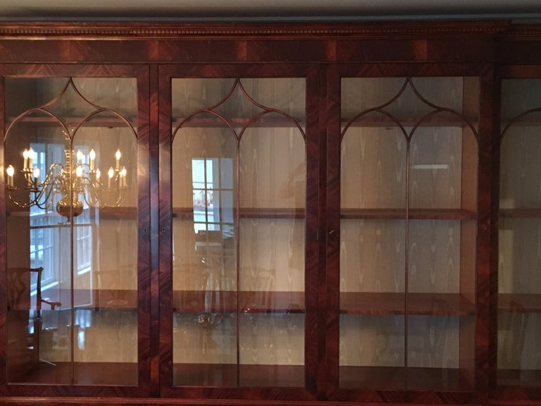 Monumental Custom Made Mahogany Breakfront Bookcase by Mill House Antiques 15