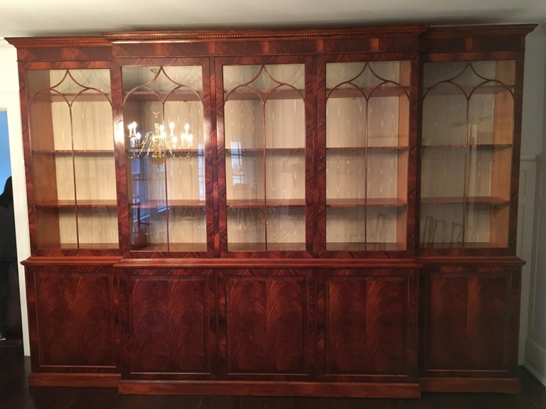 Monumental Custom Made Mahogany Breakfront Bookcase by Mill House Antiques 18