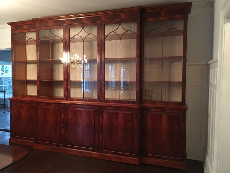 Monumental Custom Made Mahogany Breakfront Bookcase by Mill House Antiques 2