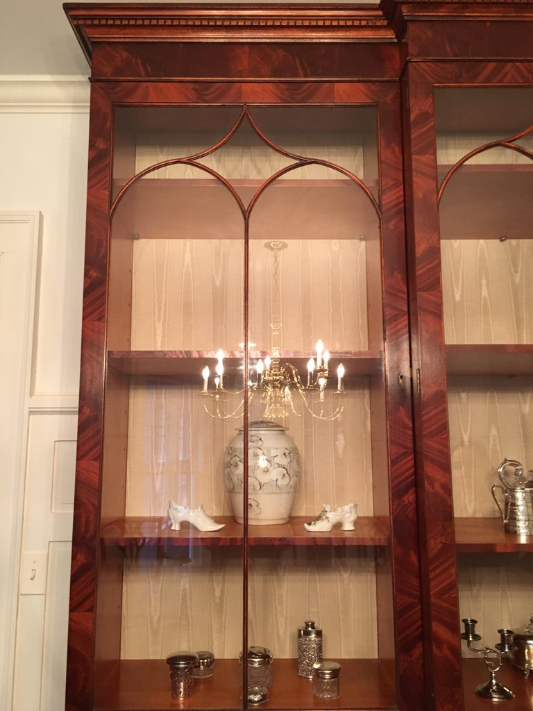 Monumental Custom Made Mahogany Breakfront Bookcase by Mill House Antiques 20