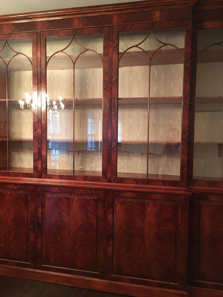 Monumental Custom Made Mahogany Breakfront Bookcase by Mill House Antiques 3