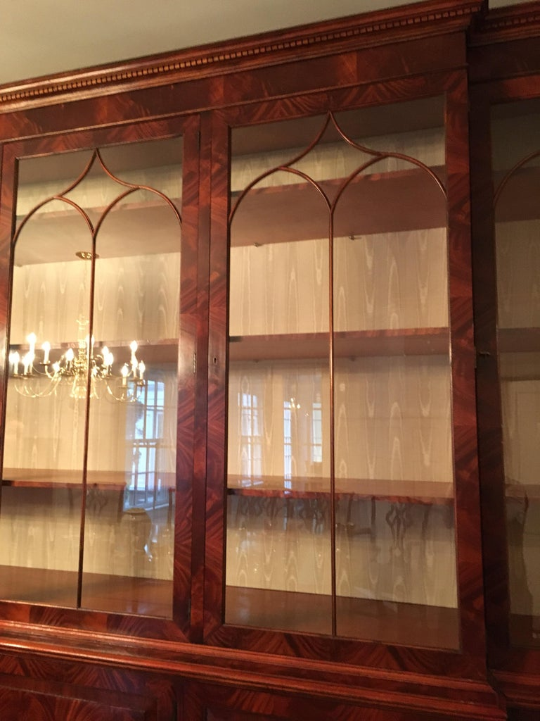 Monumental Custom Made Mahogany Breakfront Bookcase by Mill House Antiques 5