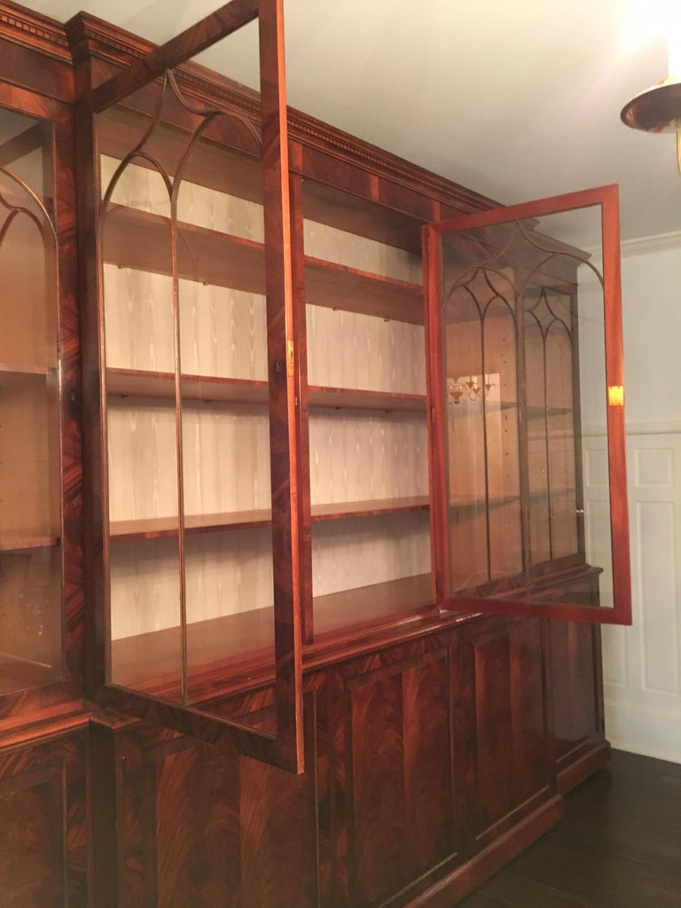 Monumental Custom Made Mahogany Breakfront Bookcase by Mill House Antiques 6