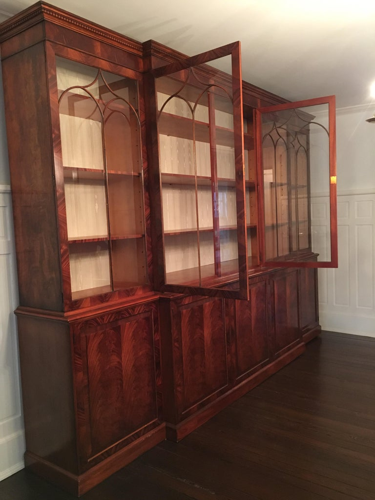 Monumental Custom Made Mahogany Breakfront Bookcase by Mill House Antiques 7