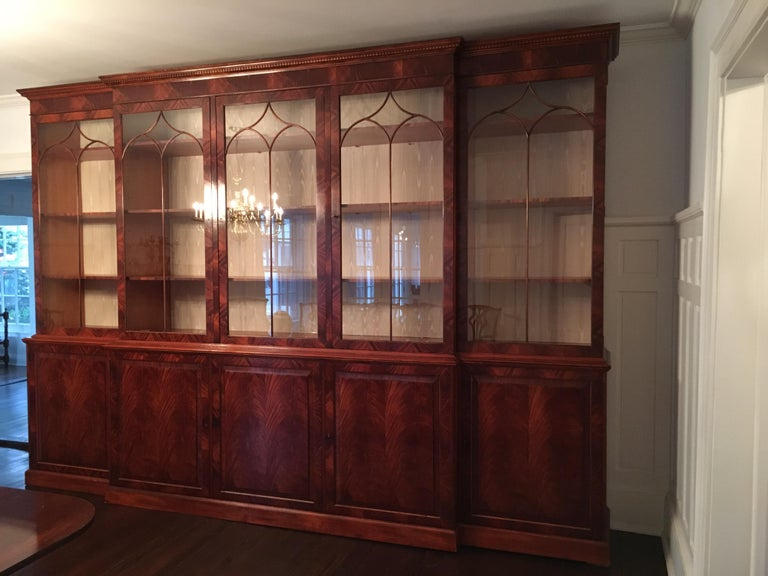Monumental Custom Made Mahogany Breakfront Bookcase by Mill House Antiques 9