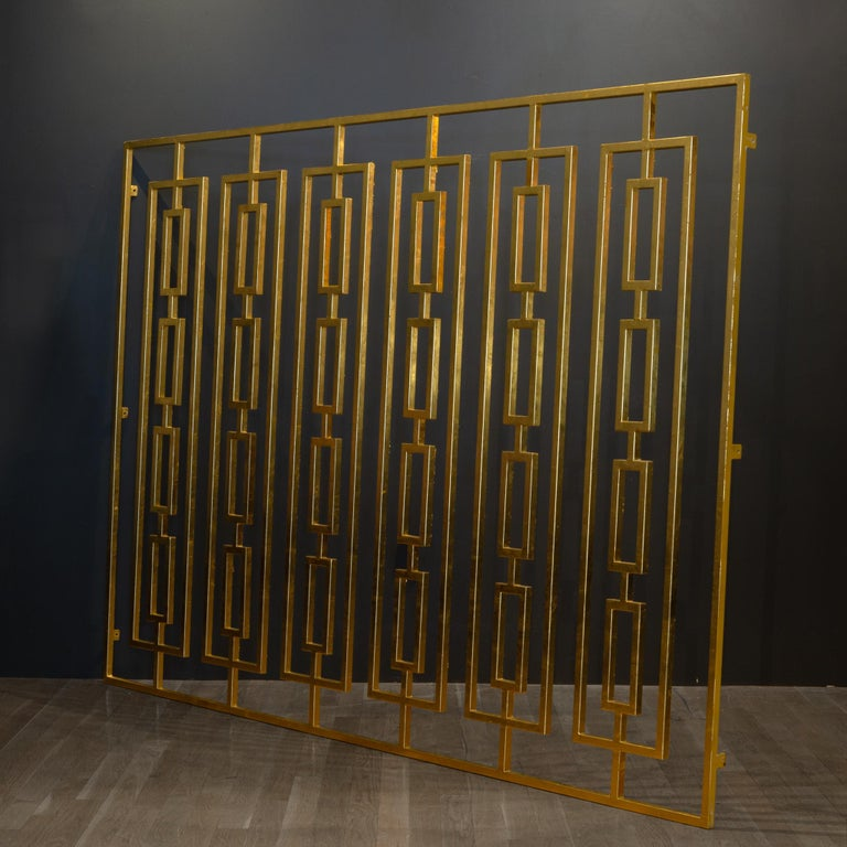 American Monumental Custom Steel Gilded Room Screen/Wall Sculpture, circa 2014 For Sale