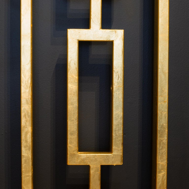 Contemporary Monumental Custom Steel Gilded Room Screen/Wall Sculpture, circa 2014 For Sale