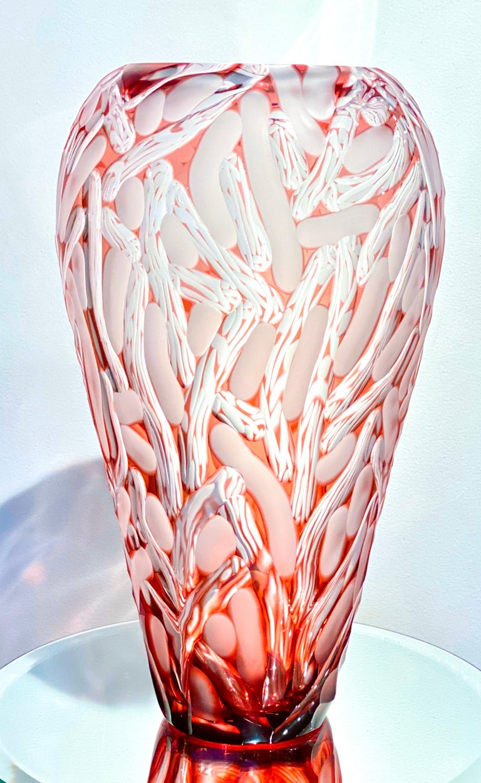 Modern Monumental Czech Bohemian Contemporary Carved Art Glass Vase by, Lucas Pokorny For Sale