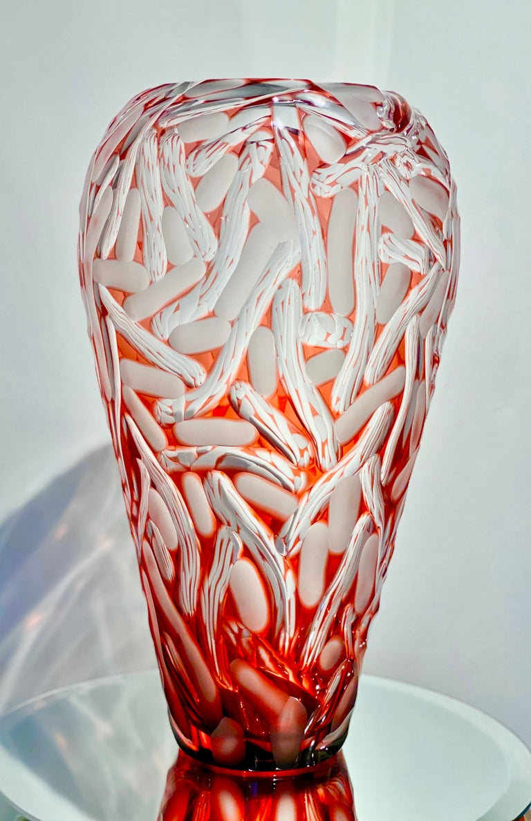 Monumental Czech Bohemian Contemporary Carved Art Glass Vase by, Lucas Pokorny For Sale 1