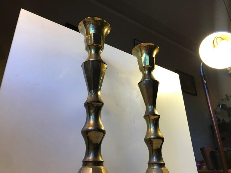Mid-Century Modern Monumental Danish Church Candleholders in Brass, 1950s For Sale