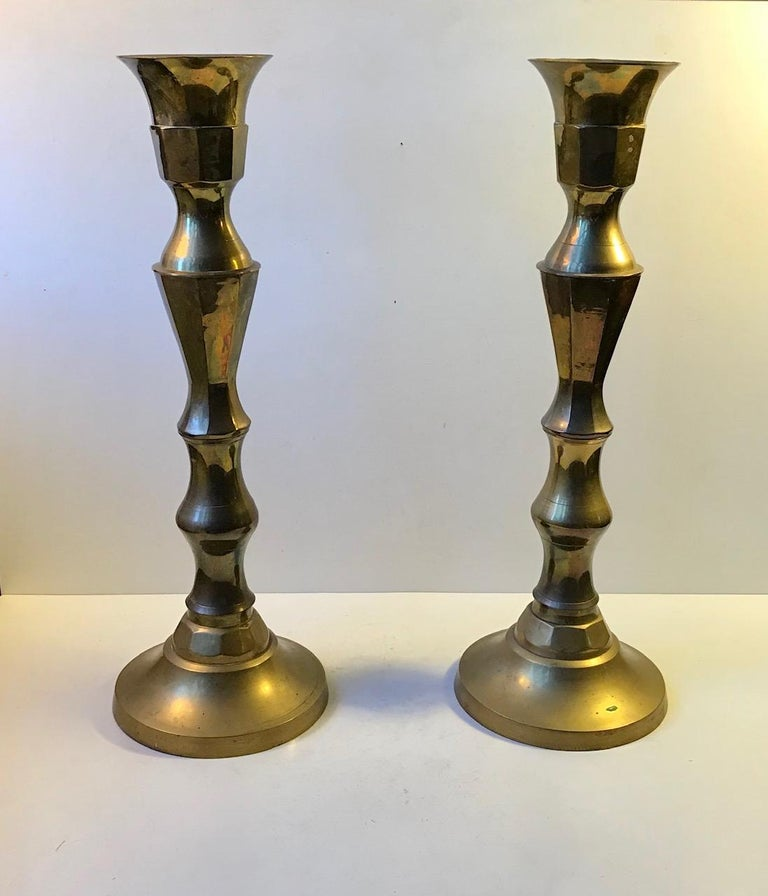 Monumental Danish Church Candleholders in Brass, 1950s In Good Condition For Sale In Esbjerg, DK