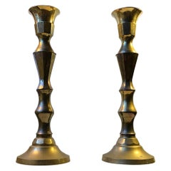 Monumental Danish Church Candleholders in Brass, 1950s