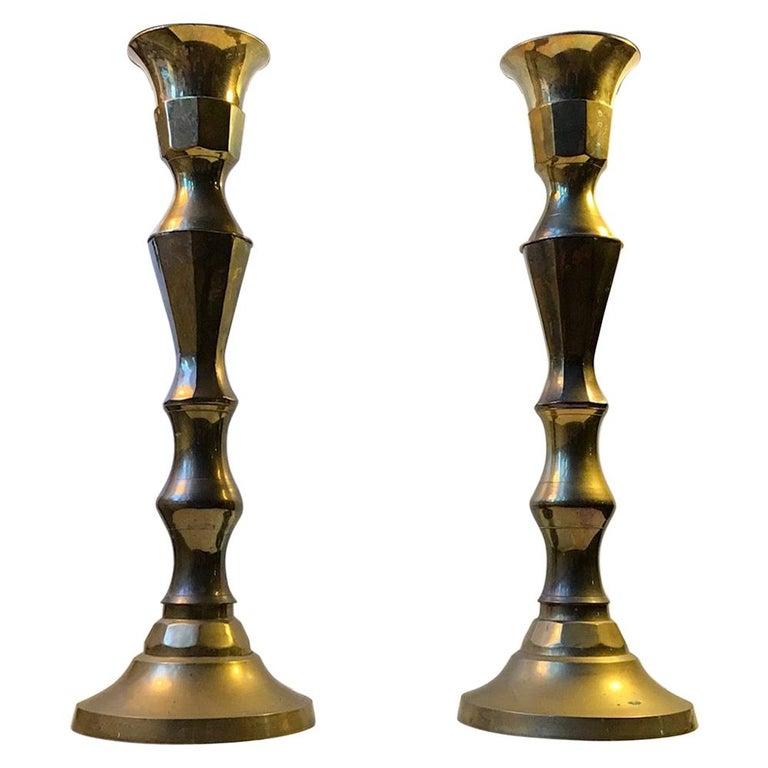Monumental Danish Church Candleholders in Brass, 1950s For Sale
