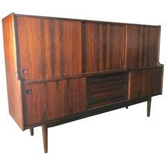 Monumental Danish Rosewood Credenza / Bar Cabinet