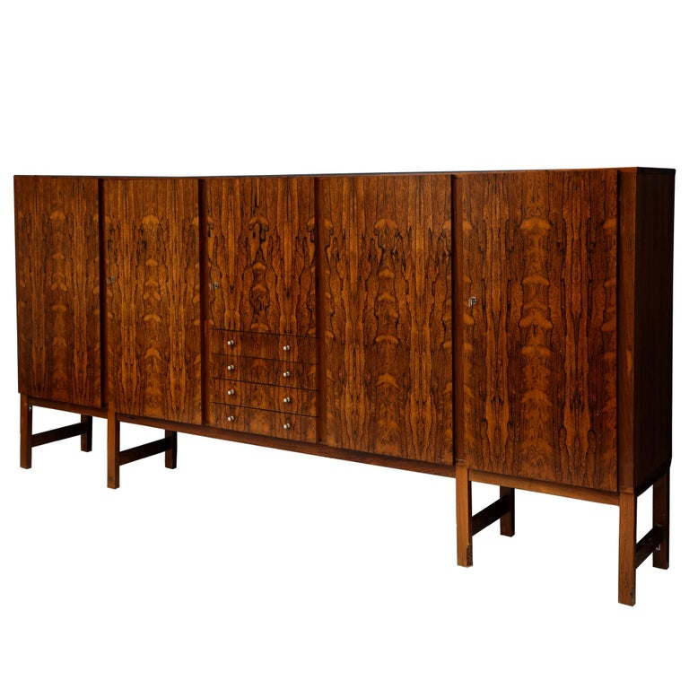 Monumental Danish Rosewood Sideboard Highboard Cabinet Midcentury, 1960s For Sale