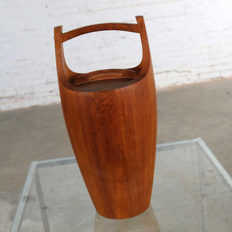 Plastic Monumental Dansk Staved Teak Bucket Style Ice Bucket by Jens Quistgaard For Sale