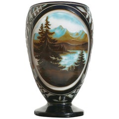 Monumentale D'Argental Paul Nicolas Kamee Landschaft Vase