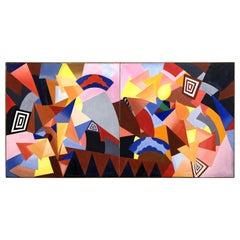 Monumental Diptych Abstract Painting by Kiyoko Natori, circa 1975
