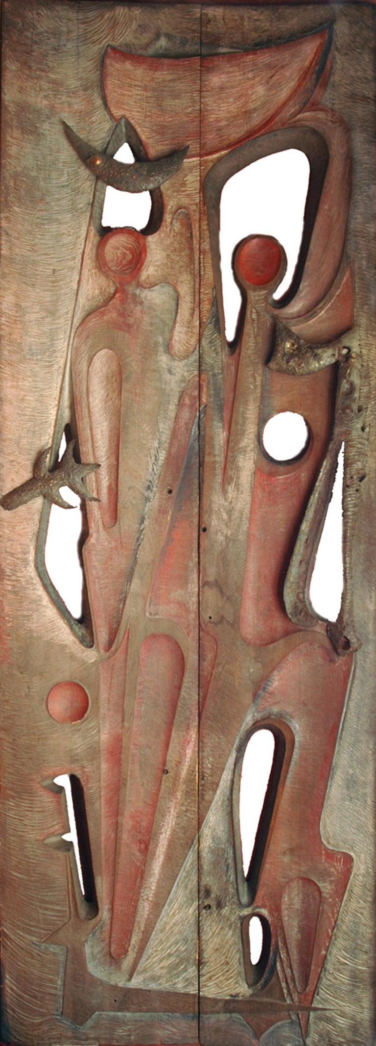 Carved Monumental Door by Gilbert De Smet For Sale