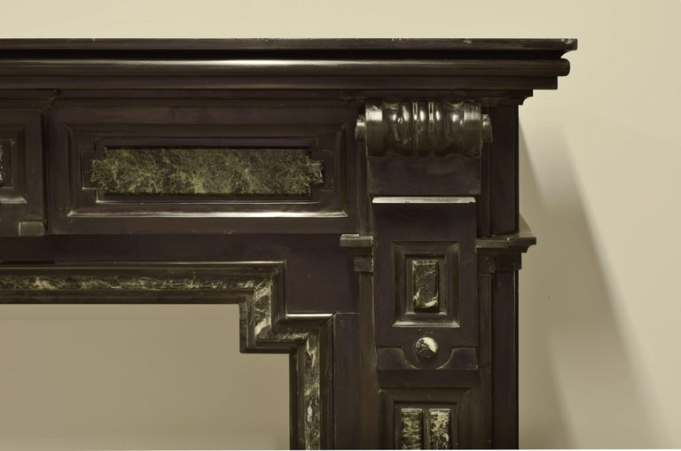 Louis XVI Monumental Dutch Black Marble Fireplace Mantel with Green Details For Sale