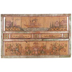 Monumental Dutch Colonial Folk Art Painted Panel