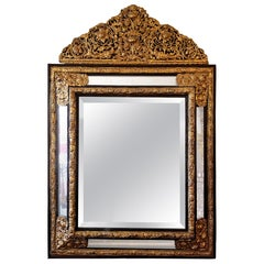 Monumental Dutch Embossed Brass Mirror