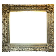 Mirror/Picture Frame, Gold Leaf Swept Early 19th Century