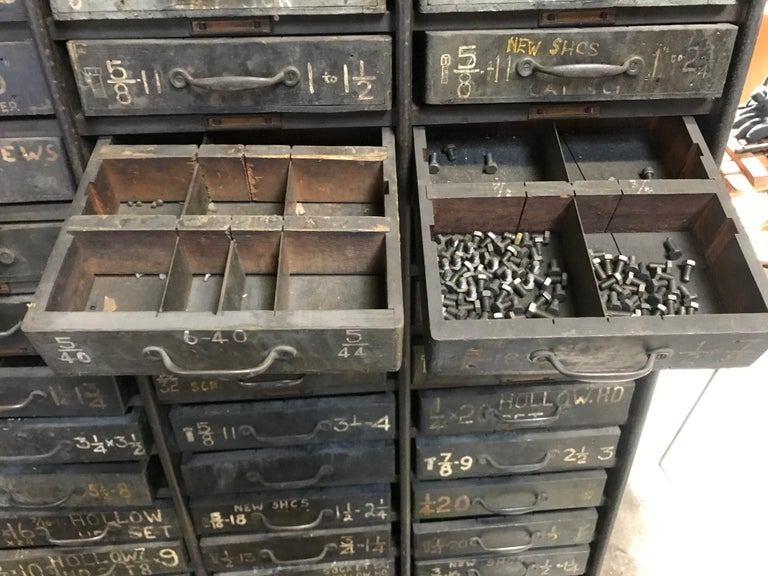 Monumental Early 20th Century Industrial Multi-Drawer Cabinet, 176 Drawers For Sale 4