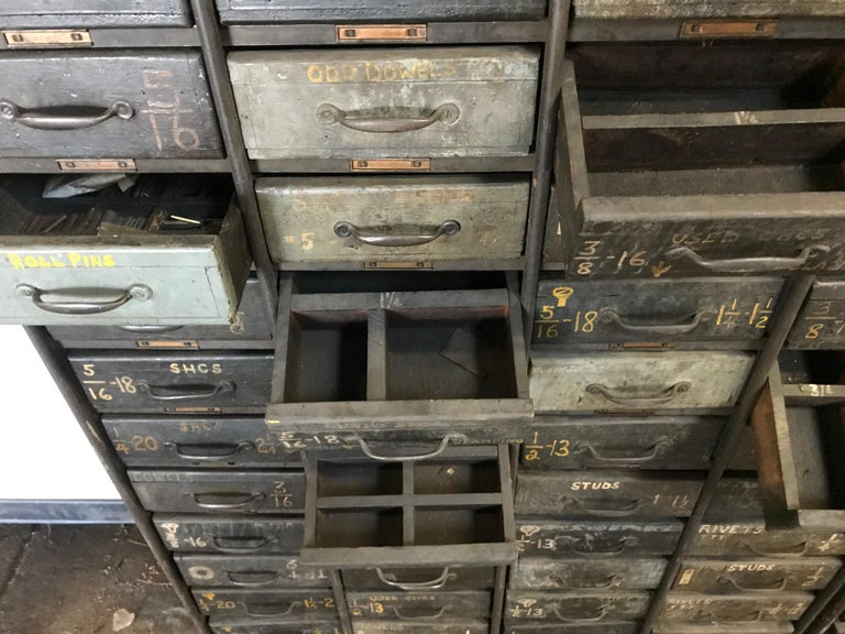 Monumental Early 20th Century Industrial Multi-Drawer Cabinet, 176 Drawers For Sale 5