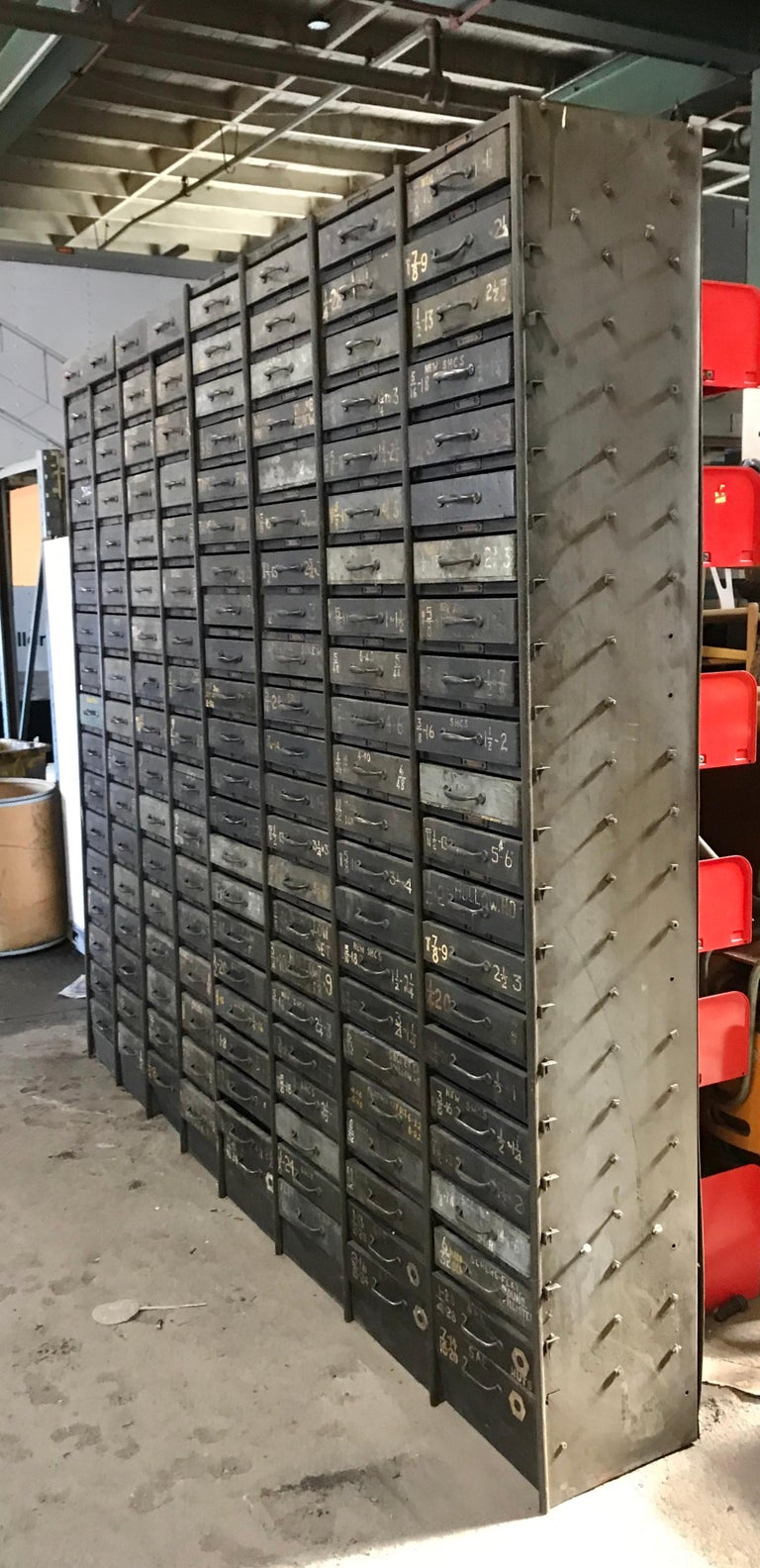 American Monumental Early 20th Century Industrial Multi-Drawer Cabinet, 176 Drawers For Sale