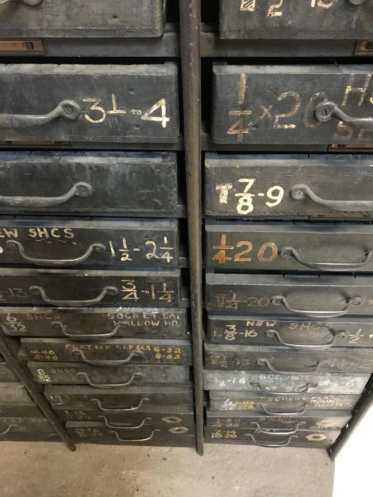 Monumental Early 20th Century Industrial Multi-Drawer Cabinet, 176 Drawers For Sale 1