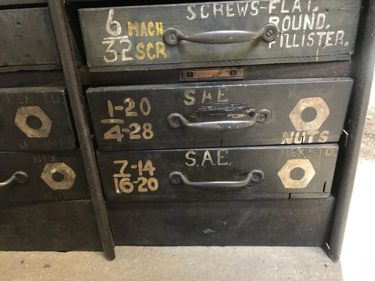 Monumental Early 20th Century Industrial Multi-Drawer Cabinet, 176 Drawers For Sale 2