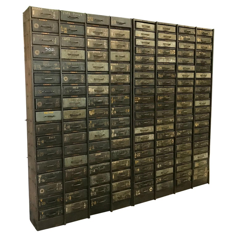 Monumental Early 20th Century Industrial Multi-Drawer Cabinet, 176 Drawers For Sale