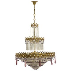 Monumental Empire Style Bronze and Crystal Chandelier, Austria, 1930s