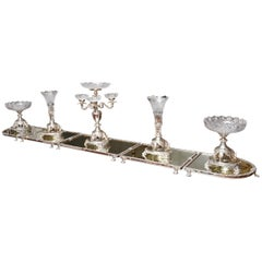 Monumental English Silver Plate & Crystal Centerpiece Ensemble, Elephant Motif