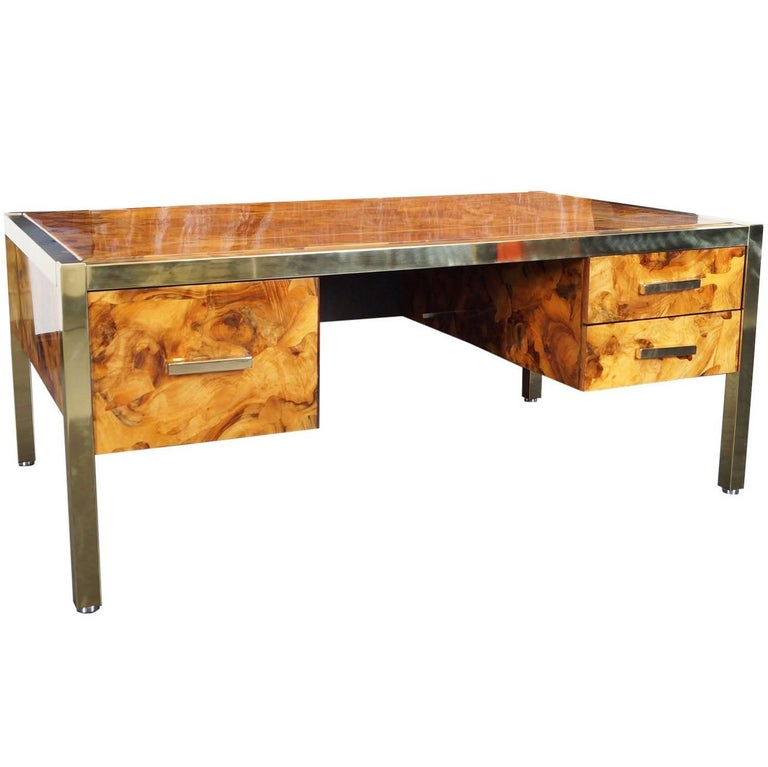 Monumental Executive Burl Wood Desk By Pace Collection At 1stdibs